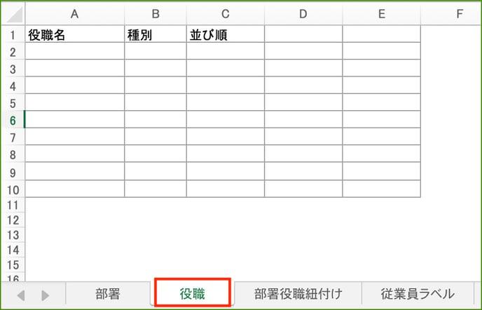 【マスター登録インポート】3:役職をインポートしよう_役職タブ